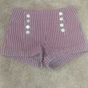 High waist, stripped shorts
